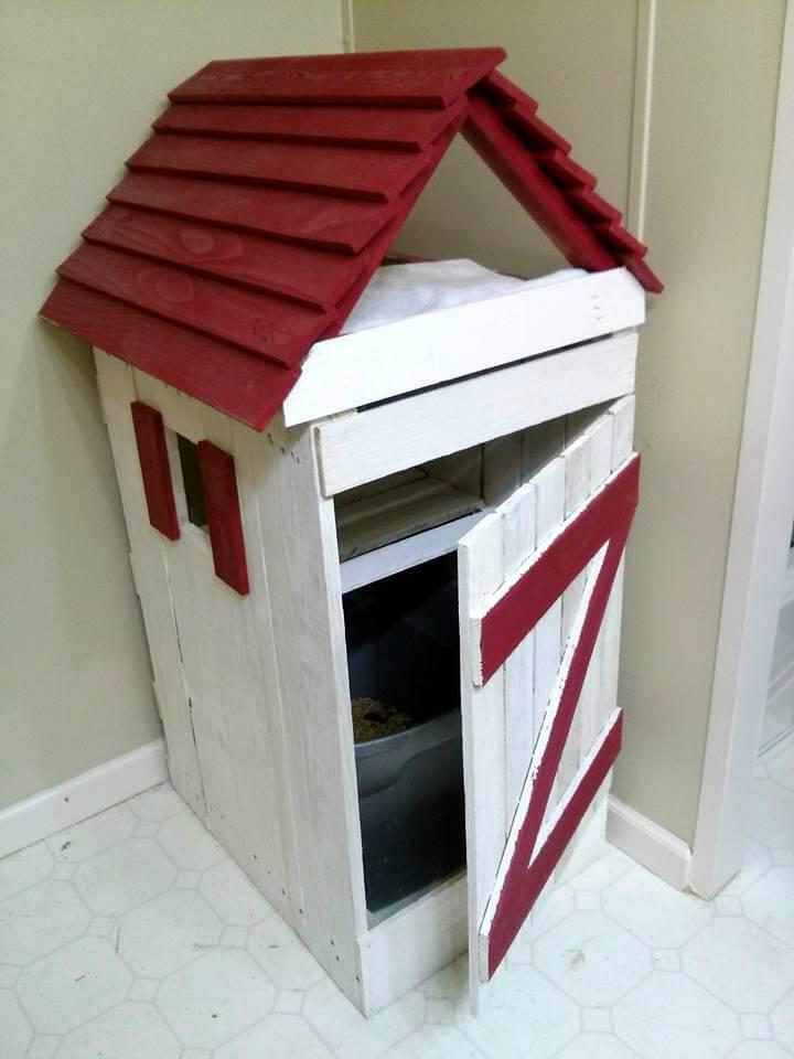 handmade pallet cat house