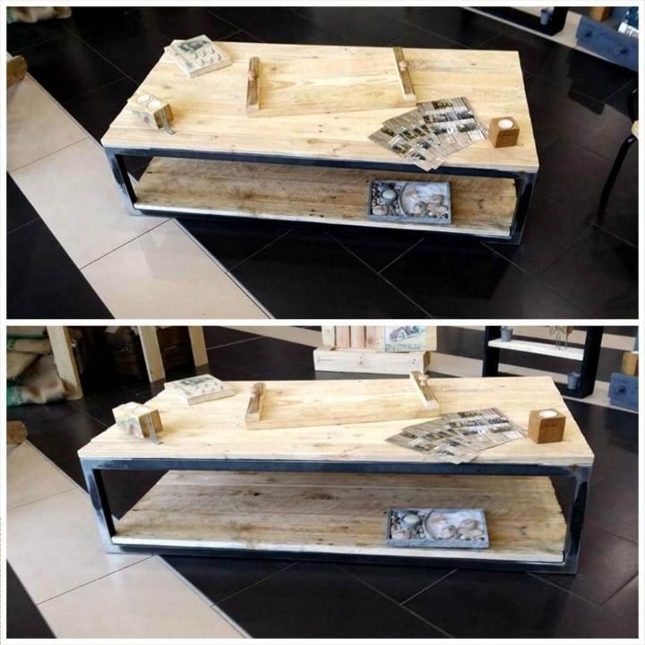 custom pallet coffee table with metal frame