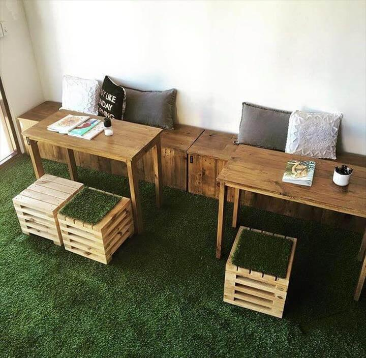 pallet boxes and table sitting plan