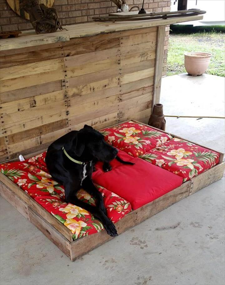 handmade wooden pallet dog bed