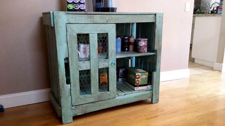 handmade wooden pallet hallway console with storage