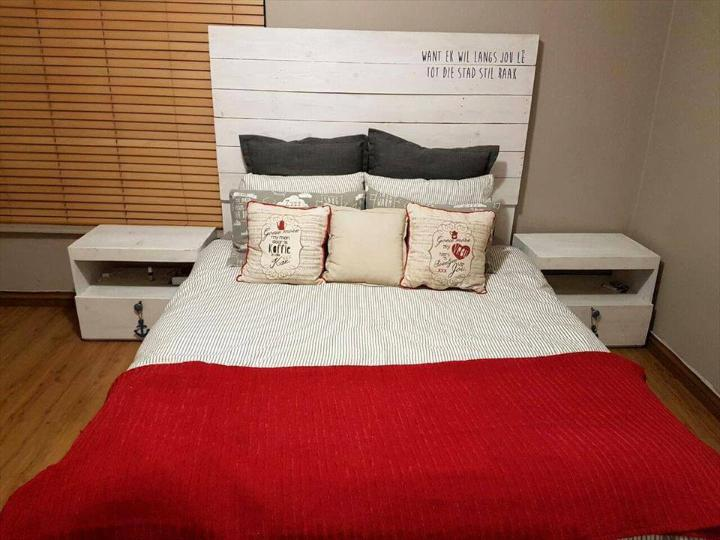 custom wooden pallet headboard and nightstand set