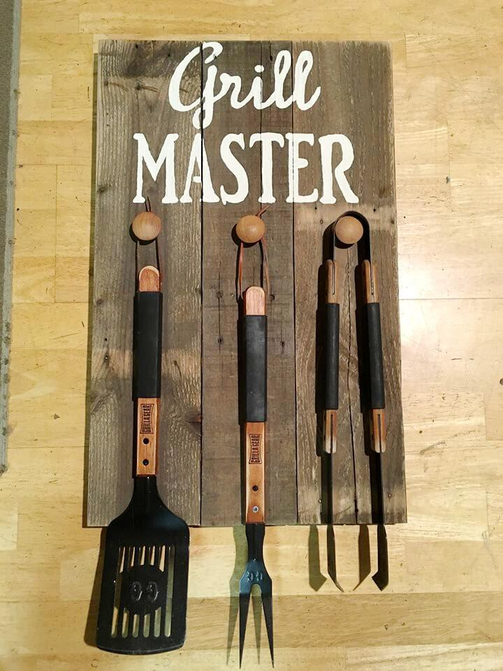handmade pallet kitchen tool rack