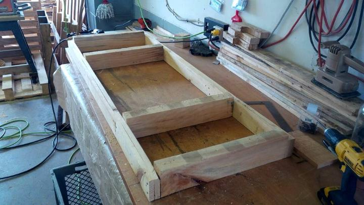making the primary wooden frame for tabletop