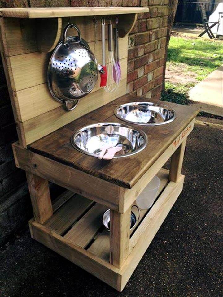 handcrafted pallet mud kitchen or outdoor kitchen