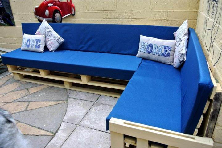 handcrafted wooden pallet corner sofa