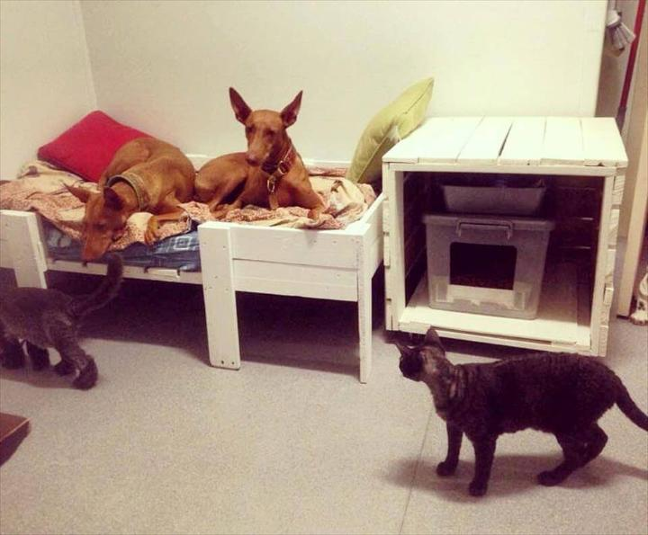 handmade pallet pet bed and pet house set