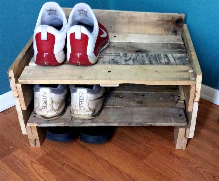 Handmade pallet shoe rack