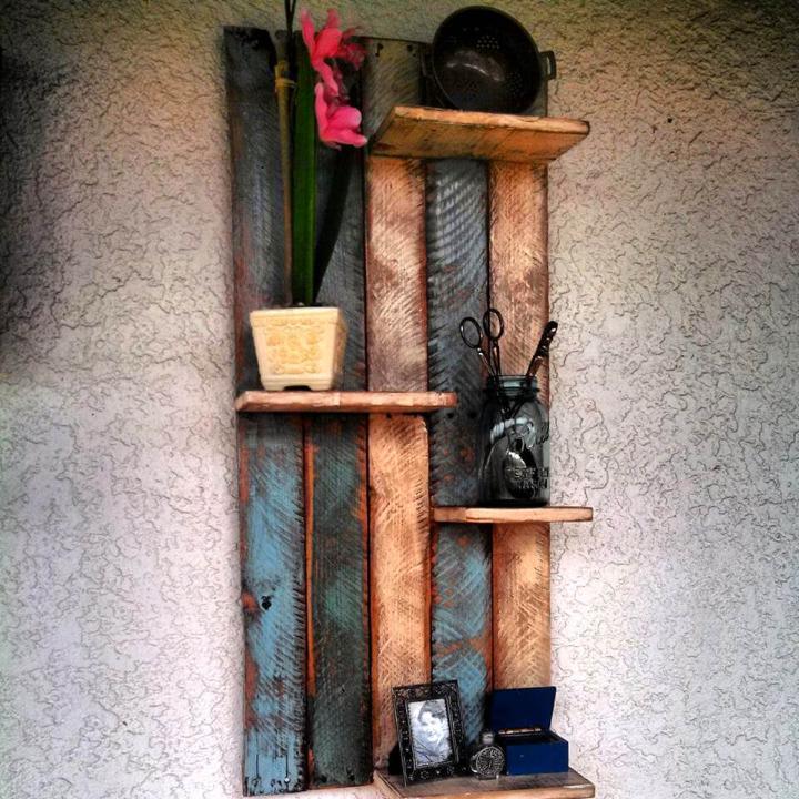 handmade wooden pallet display shelves