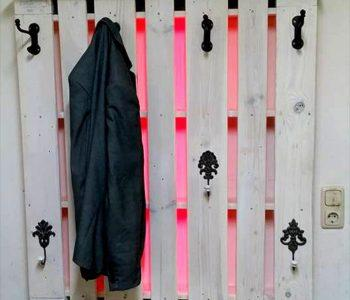 no-cost white washed one pallet coat rack with LED lights