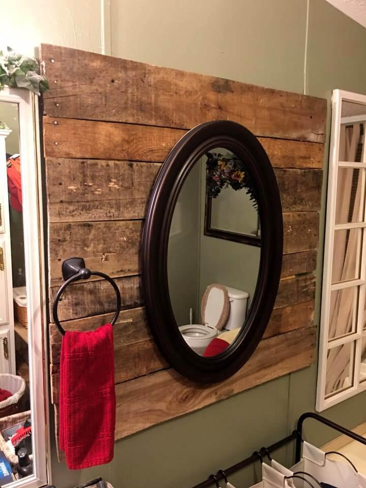 rustic wooden pallet bathroom mirror