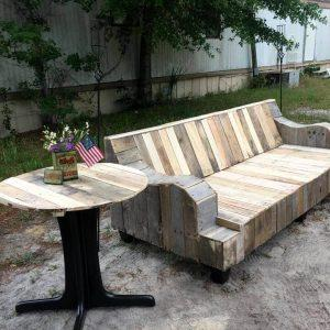 refurbished pallet old couch and pedestal metal table frame