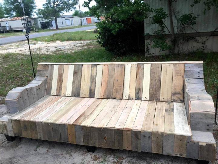 refurbished wooden pallet couch frame