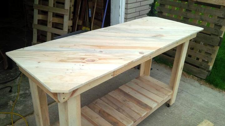 rustic wooden pallet kitchen island with diagonal stripe patterned top