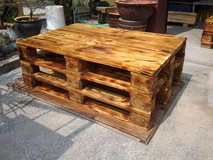 scorched stacked pallet coffee table with storage