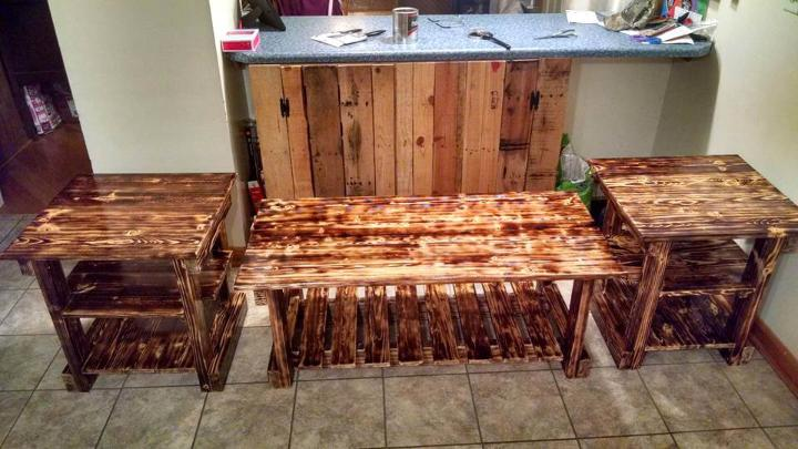 recycled pallet scorched 3 table set
