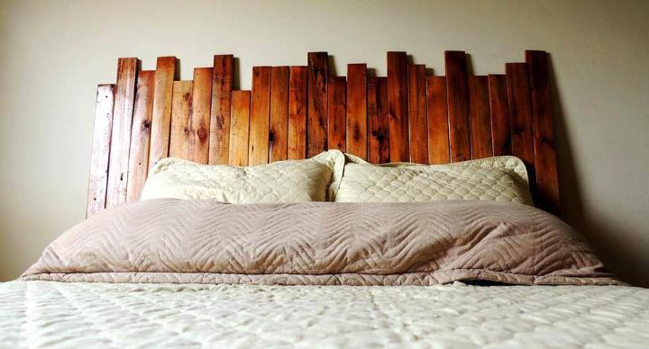 sleek wooden pallet slat headboard