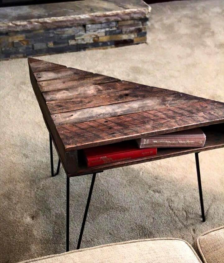 Triangular pallet coffee table with metal hairpin legs