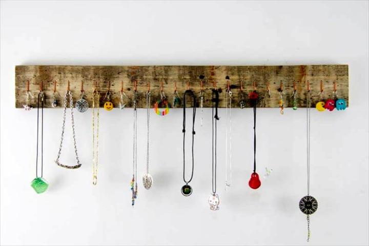 Reclaimed pallet made jewelry organizer