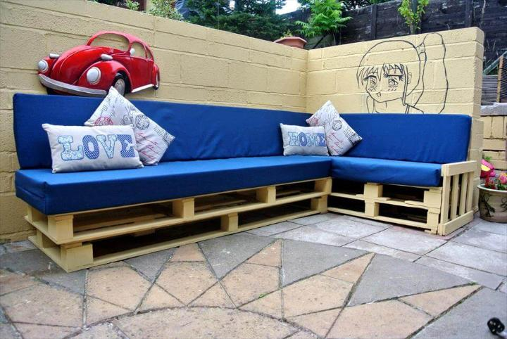 handcrafted wooden pallet blue cushioned sectional couch frame