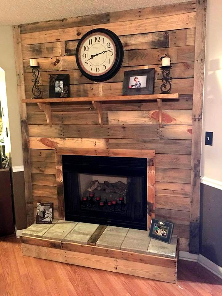 diy wooden pallet fireplace