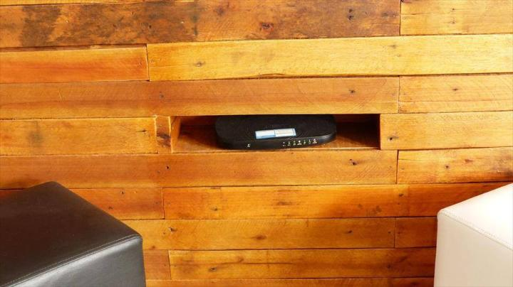 DIY pallet wooden panel of TV