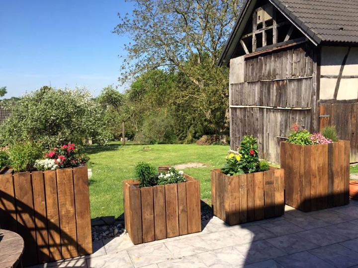 wooden pallet box style planters