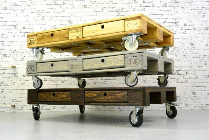Build Pallet Coffee Table On Wheels Easy Pallet Ideas