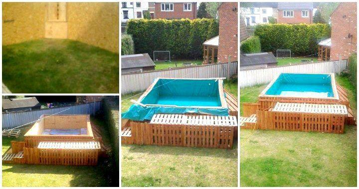 Build a swimming pool out of 40 pallets easy pallet ideas for Make a swimming pool out of pallets