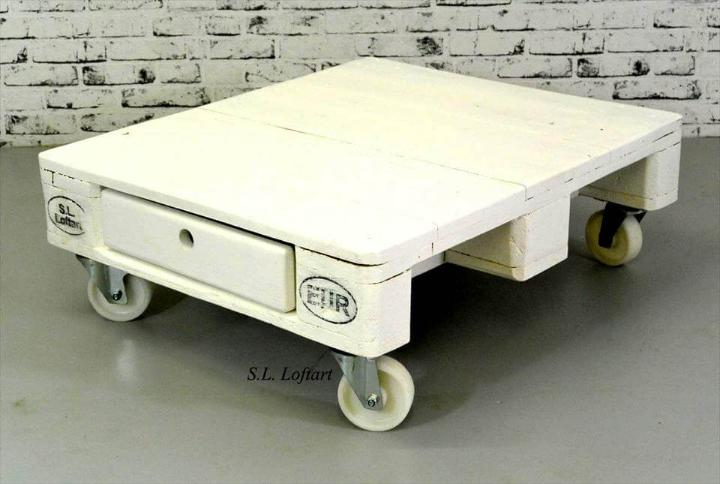 chic white min pallet coffee table
