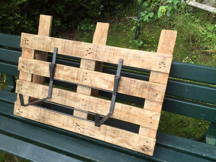 recycled pallet and metal wall hanging planter holder