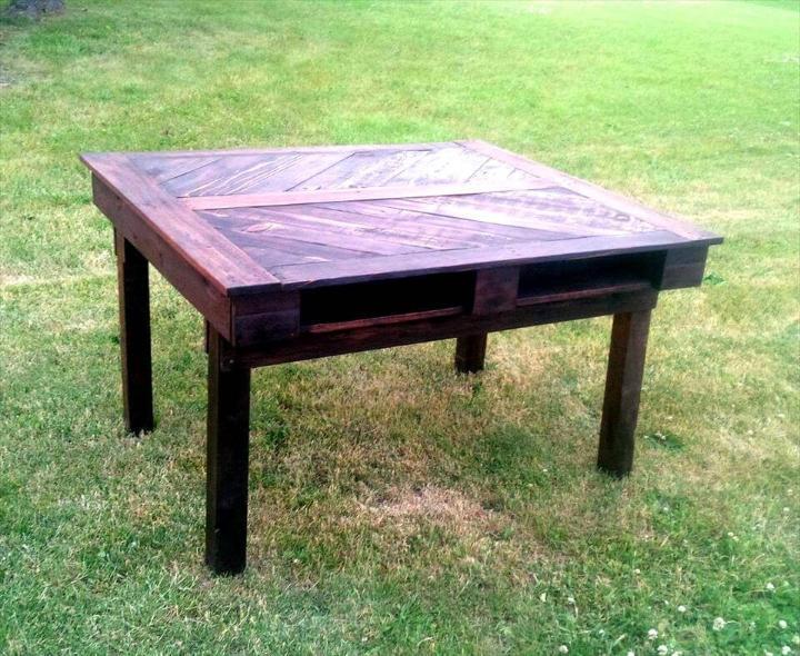 custom wooden pallet chevron dining table