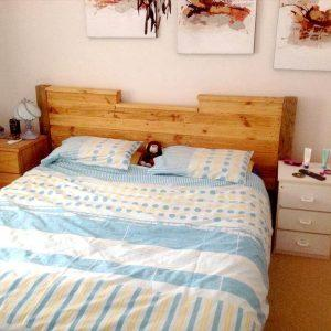 Diy Pallet Bed With Headboard And Lights Easy Pallet Ideas