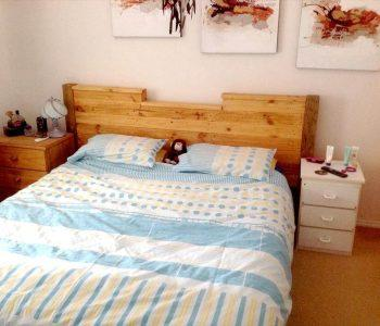 upcycled wooden pallet custom headboard