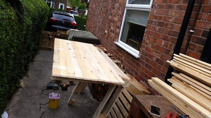 pallet bar roof installation