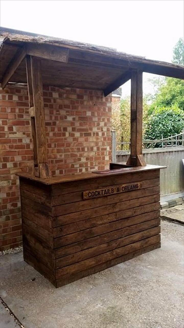 Easy DIY Pallet Wood Bar Project - 100% Pallets - Page 2 ... on Backyard Bar With Roof id=78450