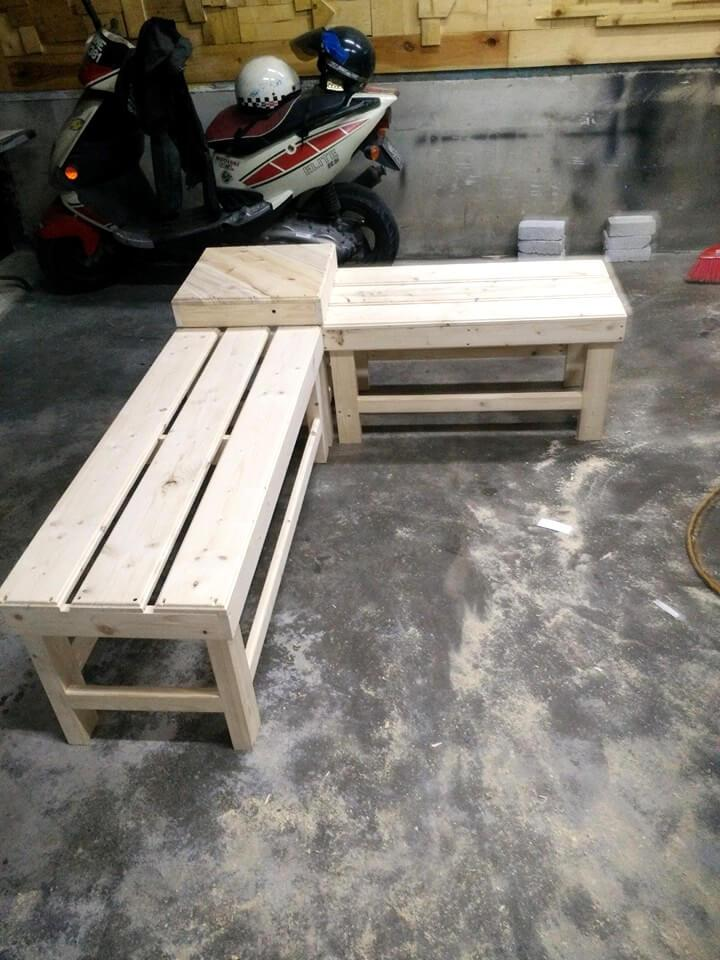 repurposed wooden pallet 2 bench and a mini table set