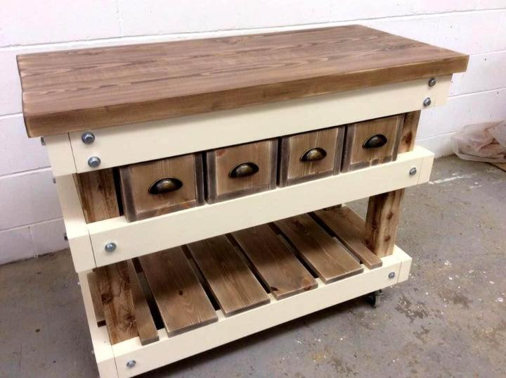 handmae pallet kitchen island table