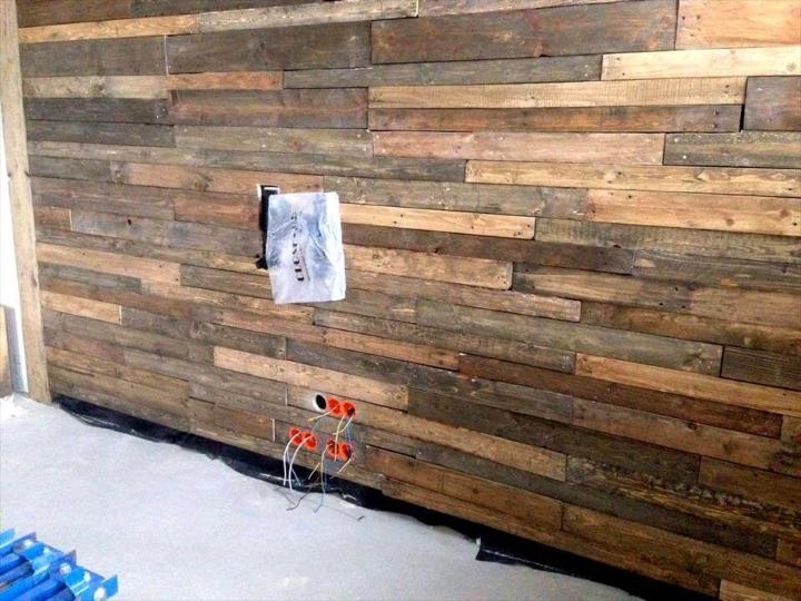 diy pallet wood paneled wall