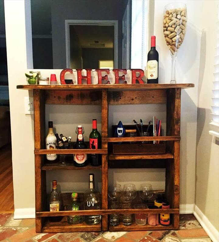mini pallet bar with custom storage options