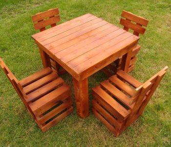 low-cost wooden pallet garden sitting set