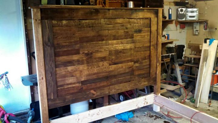 recycled pallet king headboard