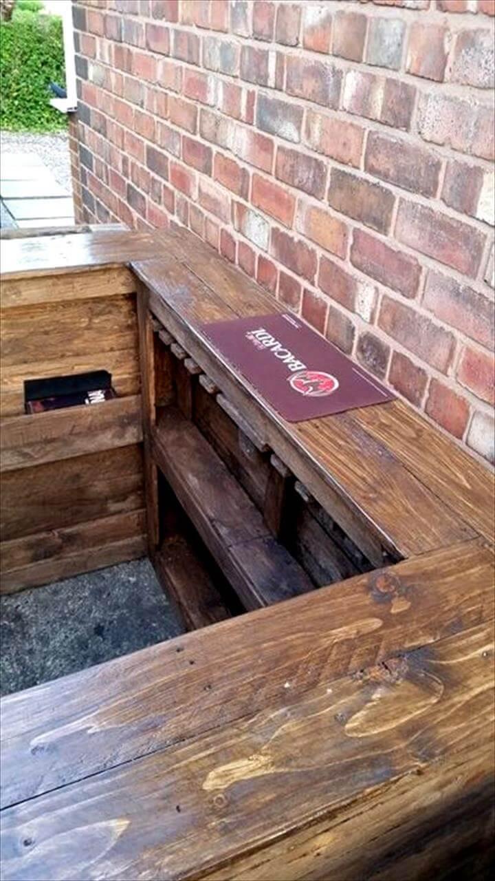 no-cost sleek wooden pallet bar with storage