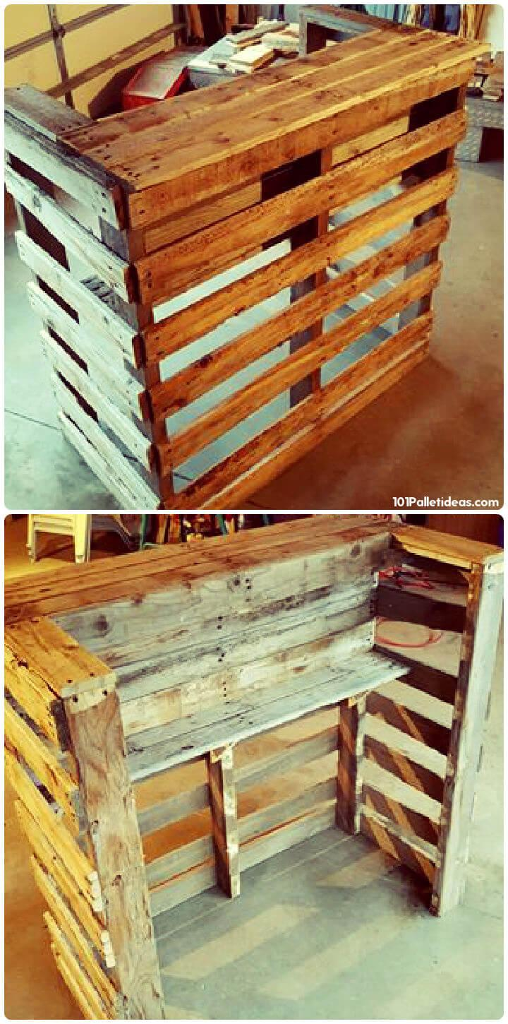 wooden pallet bar with inside built shelves