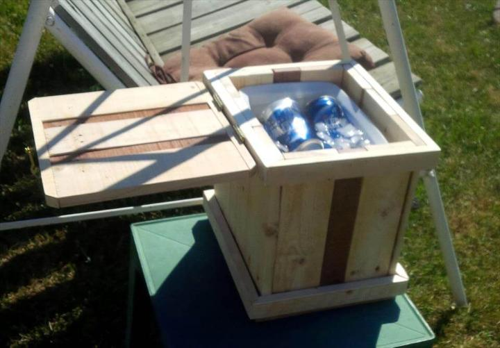 bon-fire drink cooler made of pallets
