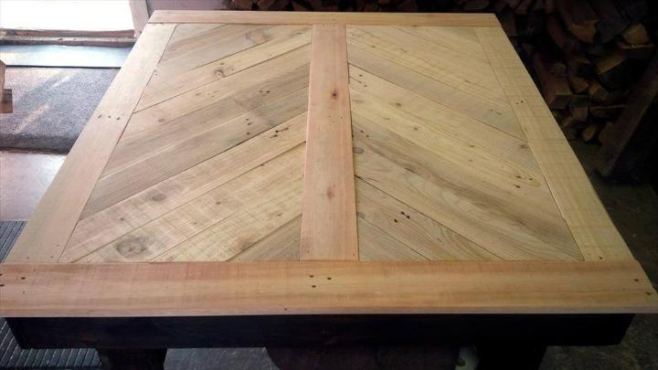 chevron pallet dining table with chevron top