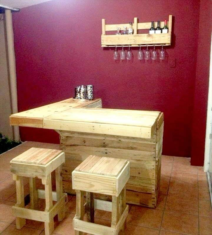 handmade pallet indoor bar with matching stools