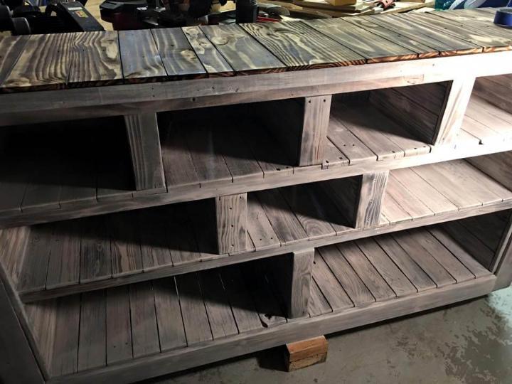 handcrafted wooden pallet storage unit