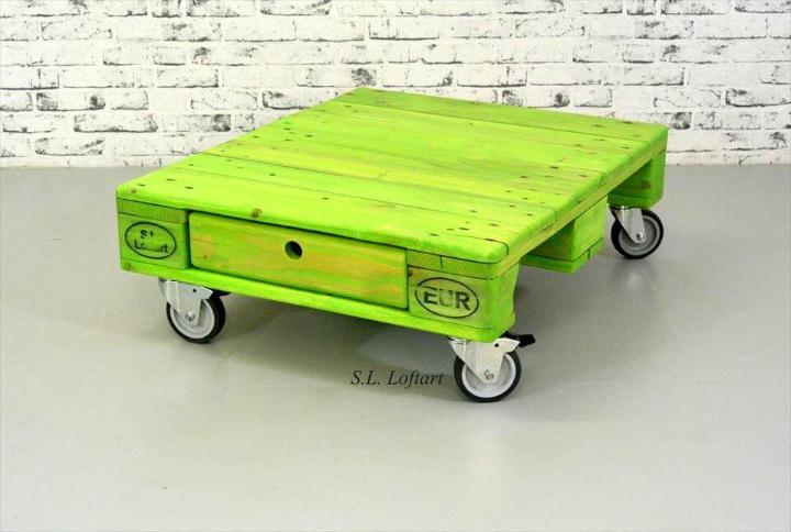 parrot green coffee table with one drawer