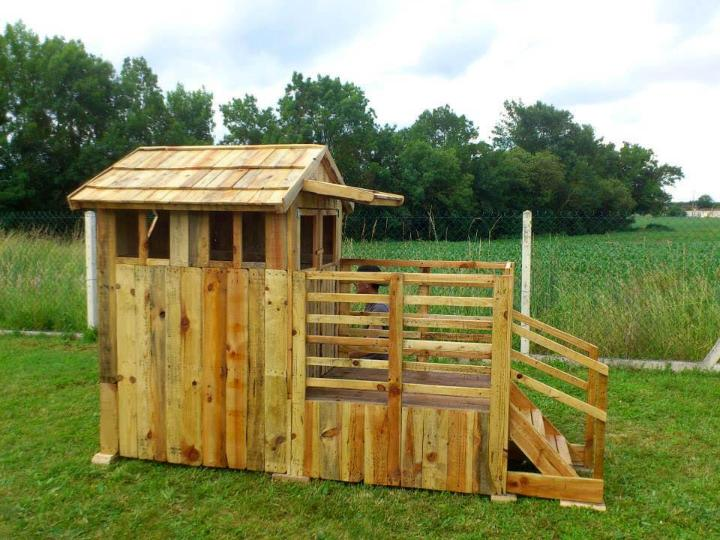 robust wooden pallet kids playhouse